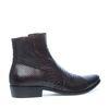 Boots en cuir basses avec imprimé serpent - marron