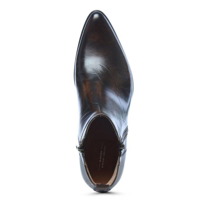 Boots en cuir avec fermeture éclair décorative - marron
