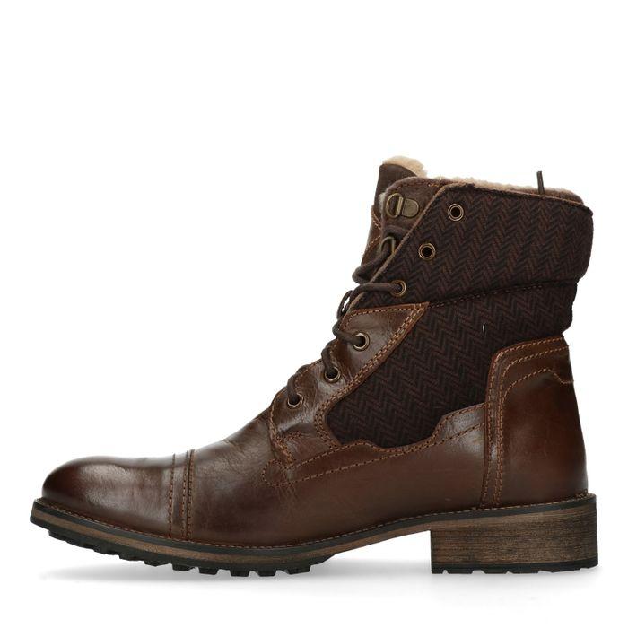 Boots à lacets en cuir avec fourrure - marron