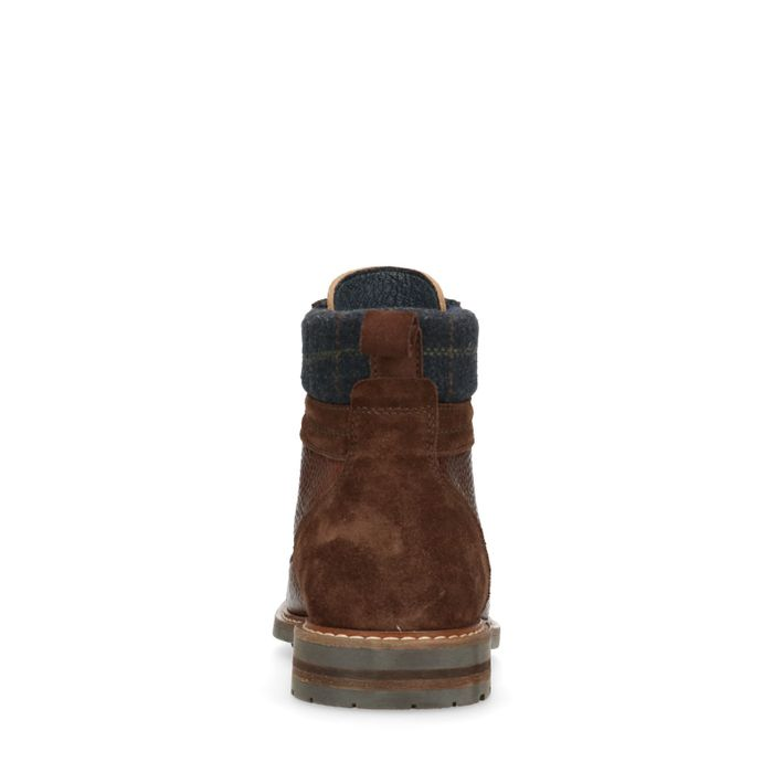 Boots à lacets avec motif à carreaux - marron