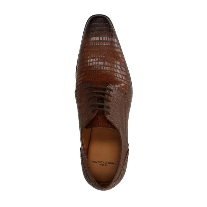 Chaussures à lacets en cuir avec motif - marron