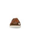 Claquettes en cuir avec brides croisées - marron