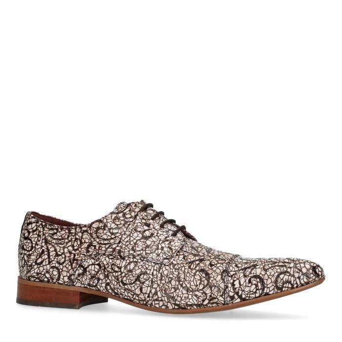 Chaussures à lacets en cuir avec imprimé - marron