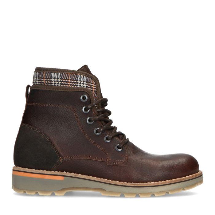 Boots à lacets en cuir avec détails imprimé carreaux