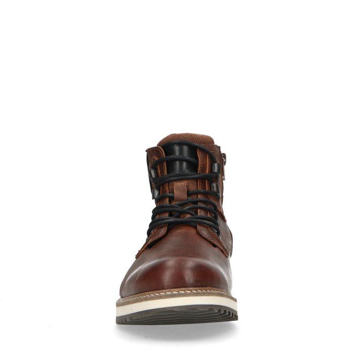 Boots à lacets montantes en cuir - marron