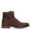 Boots à lacets en cuir avec détails perforés - marron