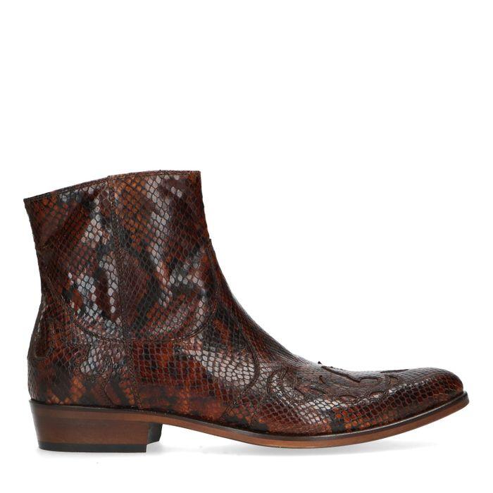 Santiags en cuir avec imprimé serpent - marron
