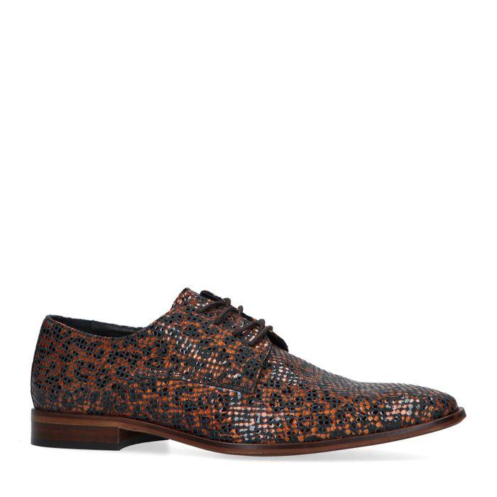Chaussures à lacets vernies avec imprimé léopard - marron