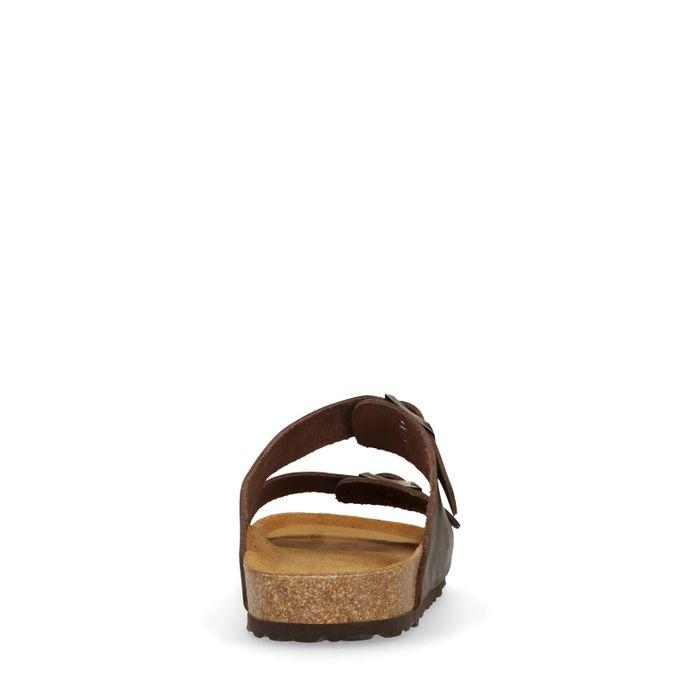 Claquettes en cuir - marron foncé