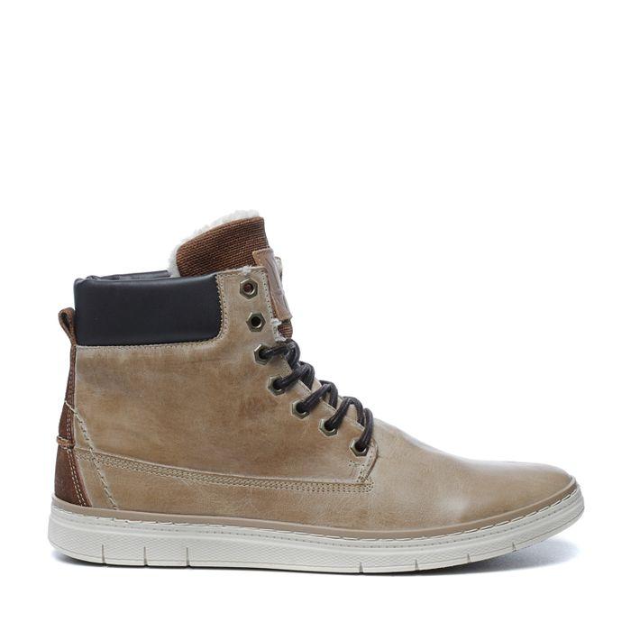 Boots à lacets en cuir montantes - camel