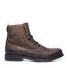 Boots à lacets en cuir avec empiècement - marron