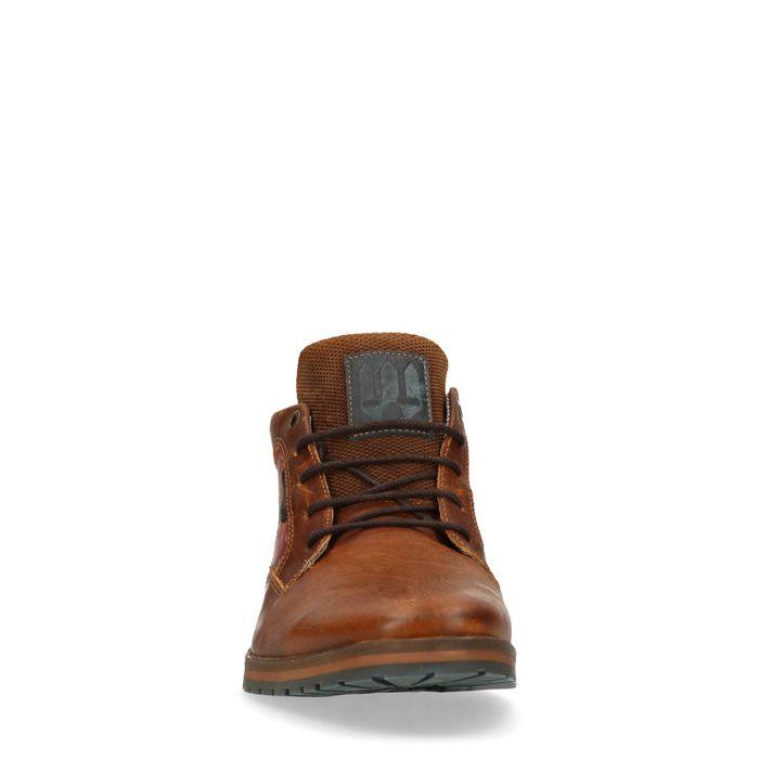 Boots à lacets en cuir avec imprimé fleuri - marron
