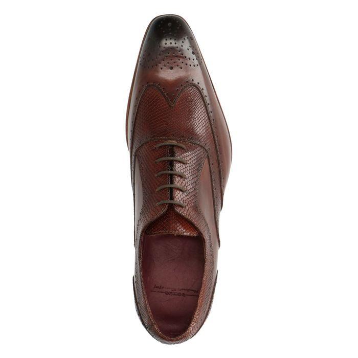 Chaussures à lacets en cuir avec imprimé serpent - marron