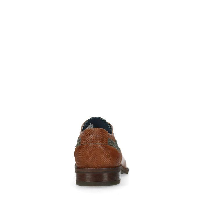 Chaussures à lacets en cuir avec petit imprimé - marron
