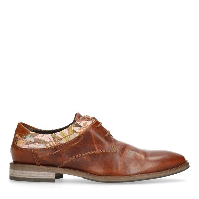 Chaussures à lacets en cuir avec imprimé fleuri - marron