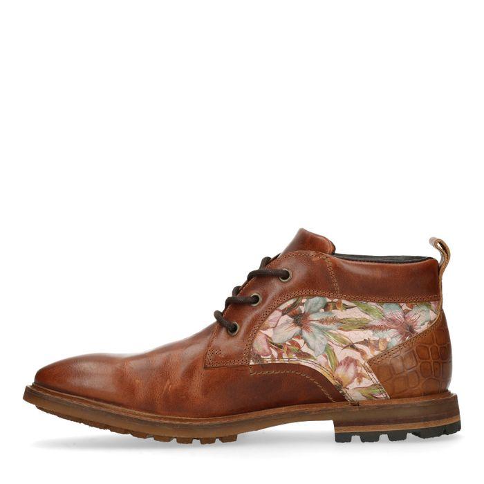 Boots à lacets avec imprimé fleuri - cognac