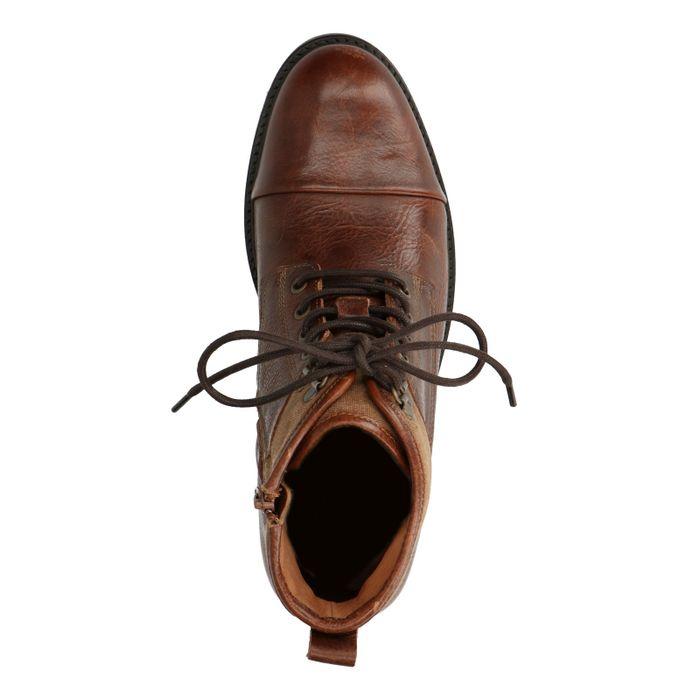 Boots à lacets en cuir - cognac