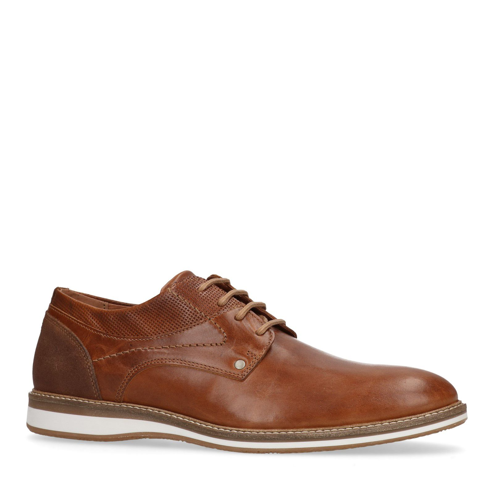 blanche marron en avec à Chaussures semelle Sacha lacets cuir n8vON0mw