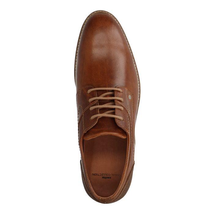 Chaussures à lacets en cuir avec semelle blanche - marron
