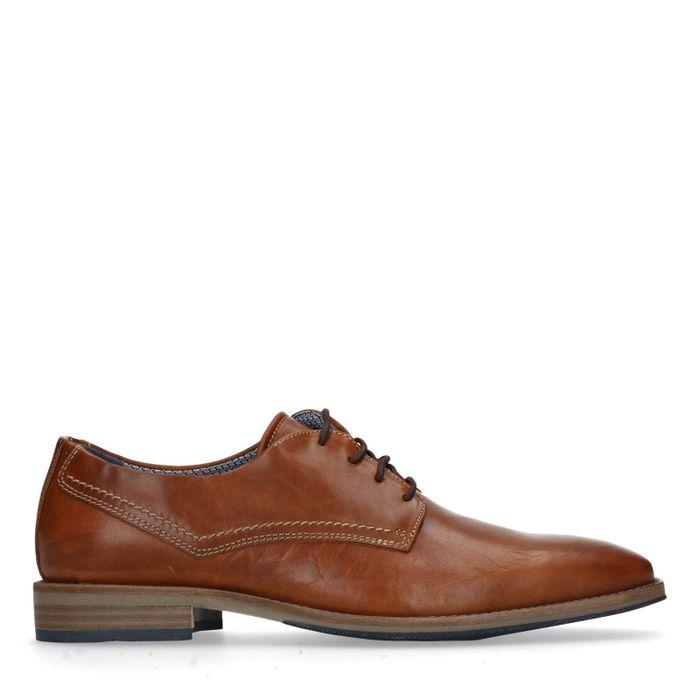 Chaussures à lacets en cuir avec surpiqûres - marron