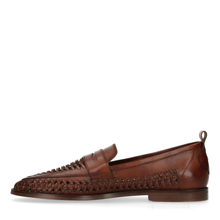 Slip-on tressées en cuir - marron