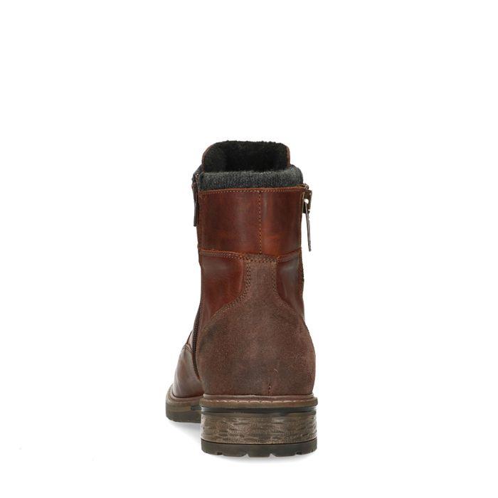 Boots à lacets en cuir avec fermeture éclair - marron