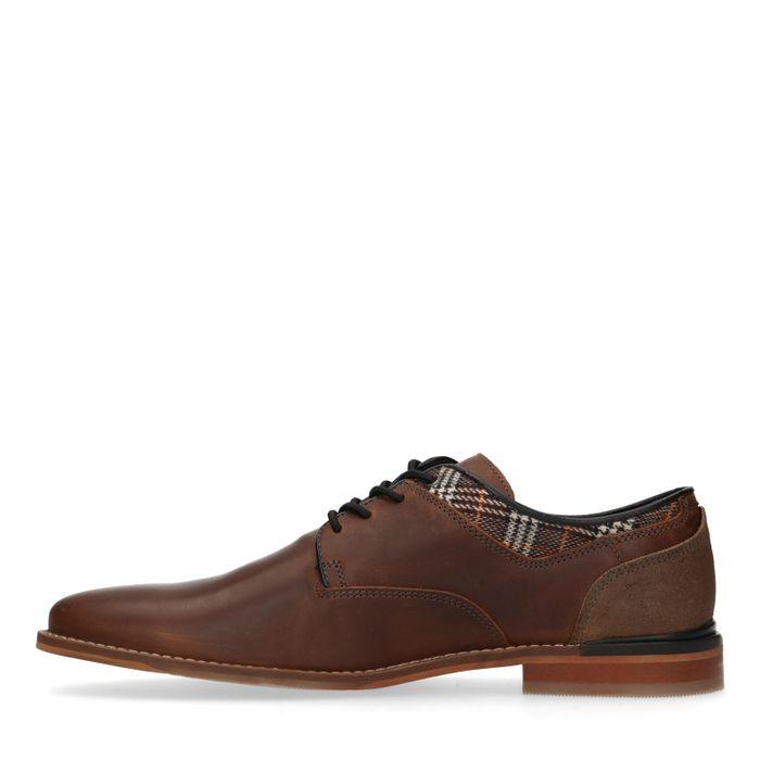 Chaussures à lacets en cuir avec motif à carreaux - marron