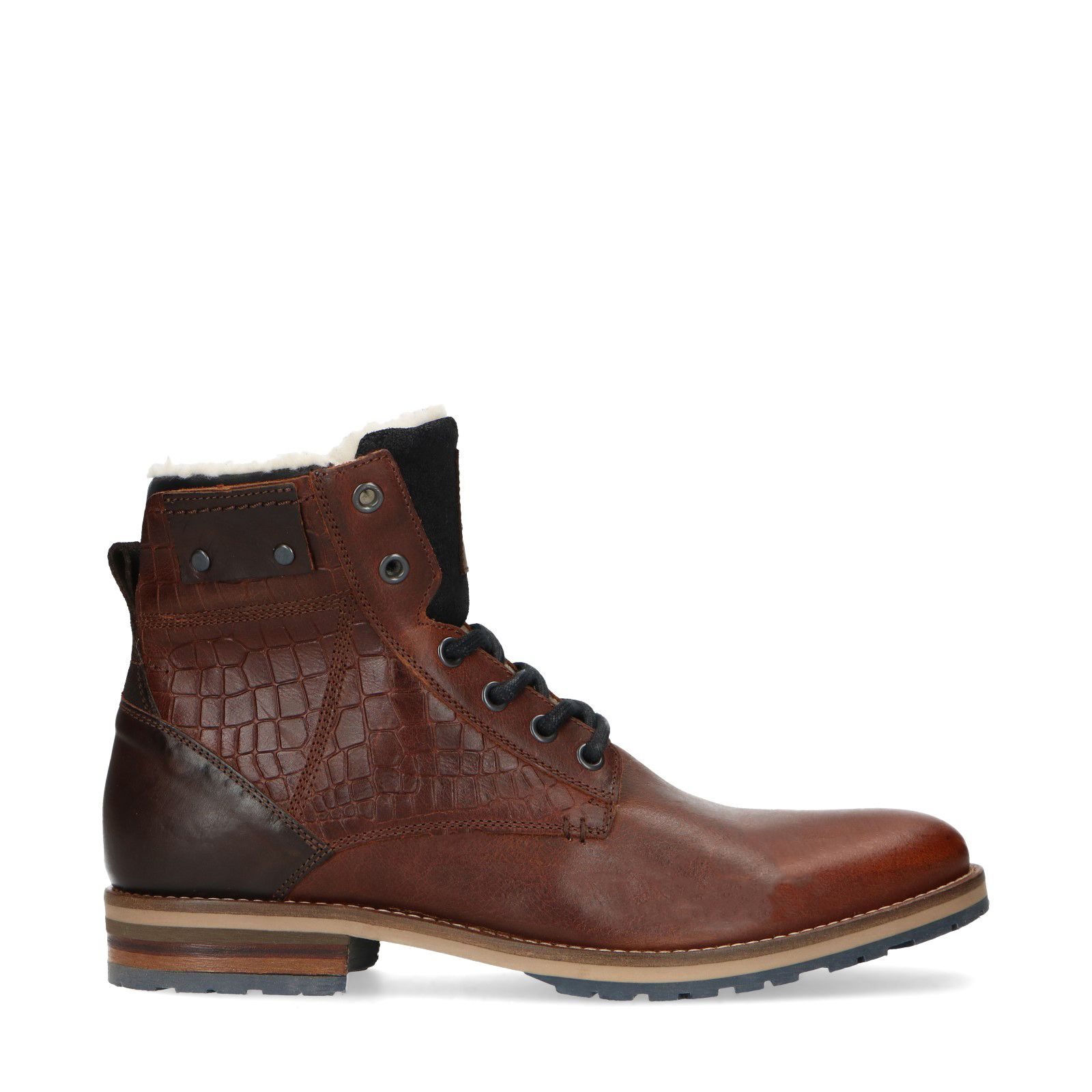 éclair à marron en Boots fermeture lacets cuir avec Sacha dWrCQBoex
