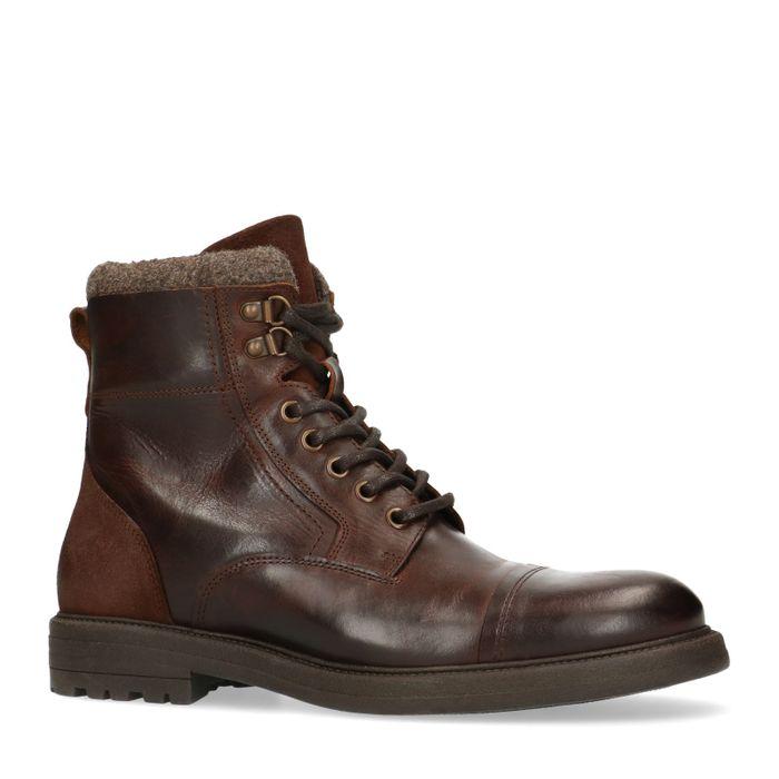 Boots à lacets en cuir - marron