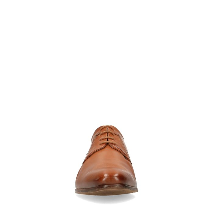 Chaussures à lacets en cuir avec petit motif - marron
