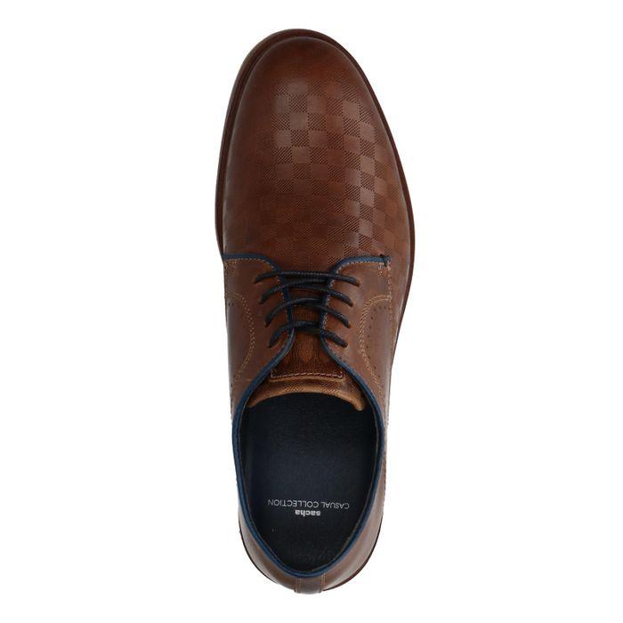 Chaussures à lacets en cuir avec imprimé carreaux - marron