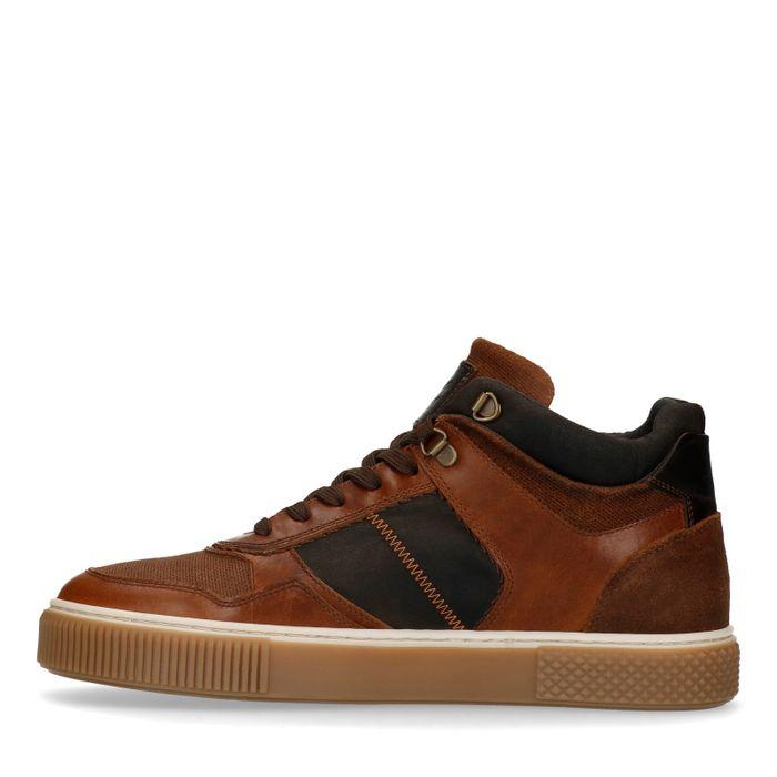 Baskets montantes en cuir - marron