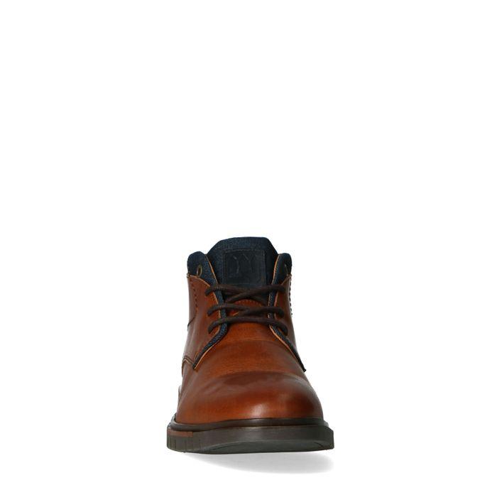 Chaussures à lacets mi-hautes en cuir - marron