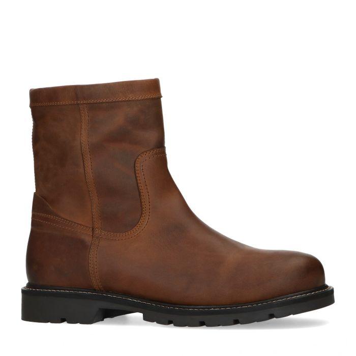 Boots en cuir avec fausse fourrure - marron