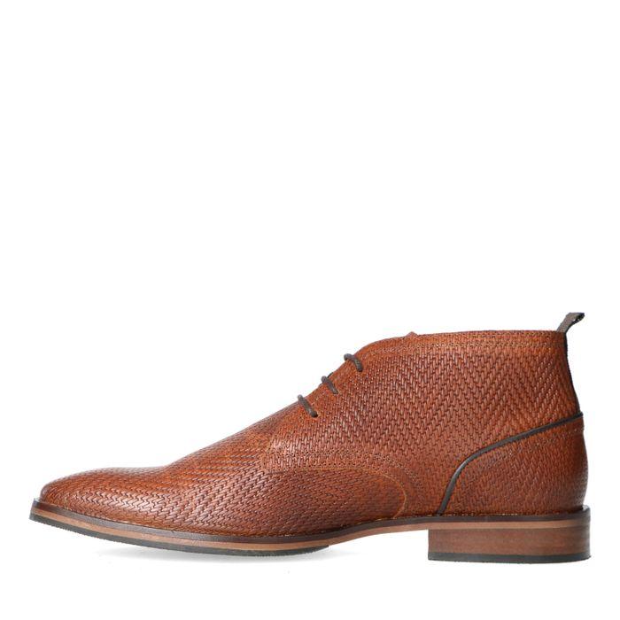 Boots à lacets en cuir avec motif - marron