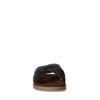 Claquettes en daim avec bandes croisées - marron