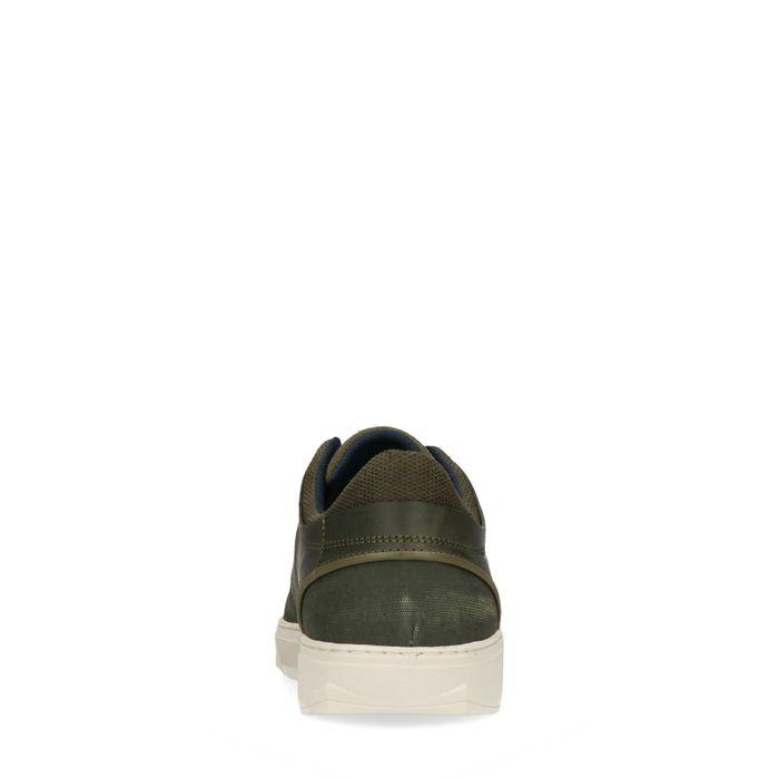 Baskets basses en cuir et toile - vert