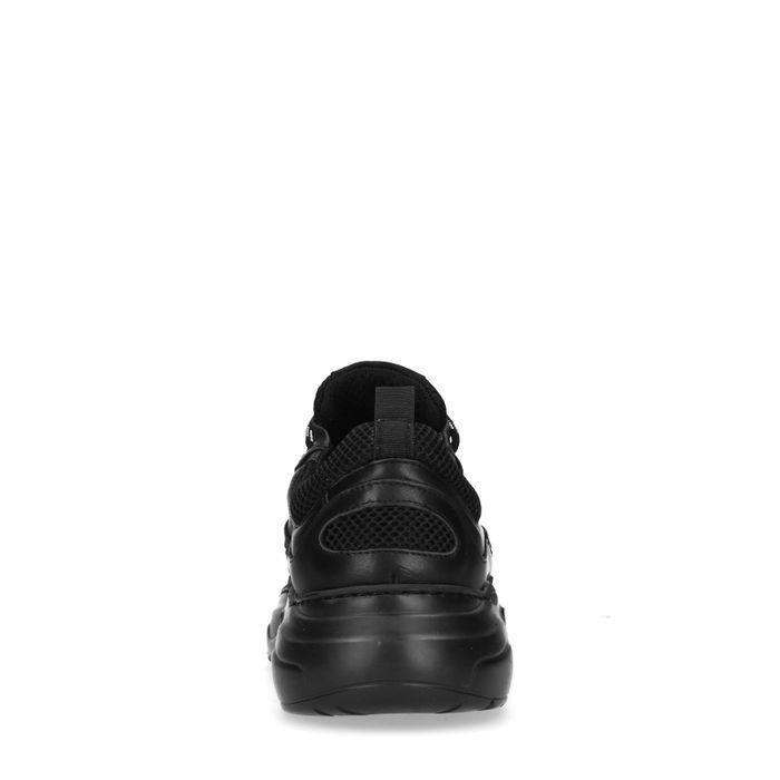 Baskets en cuir et synthétique - noir