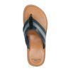 Tongs en cuir et toile avec bride rayée - bleu