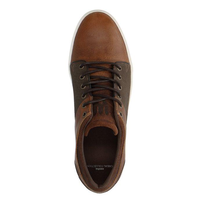 Baskets basses en cuir et toile - marron