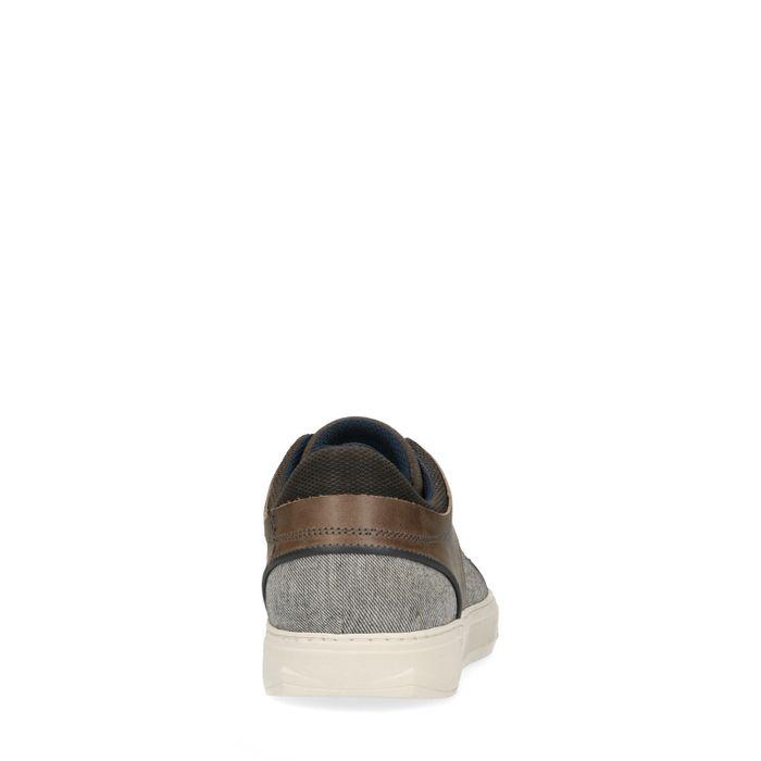 Baskets basses en cuir et toile - gris