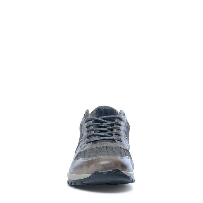 Baskets en cuir basses avec détails - gris