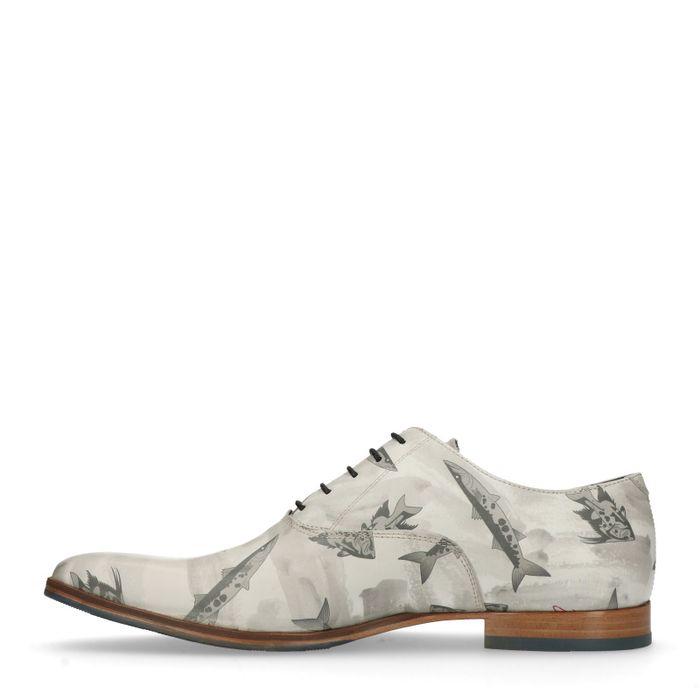 Chaussures à lacets en cuir avec imprimé poissons - gris