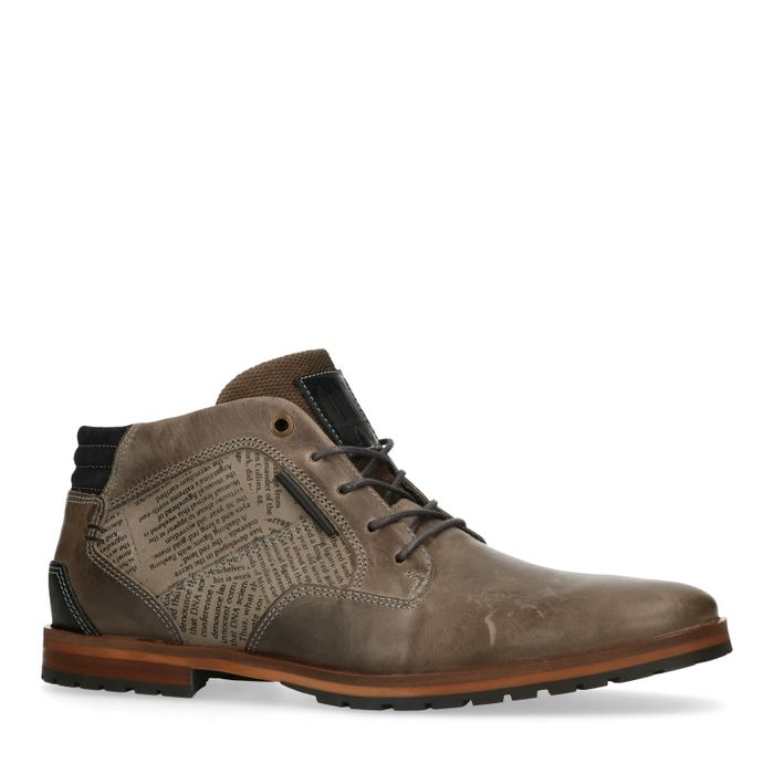 Boots à lacets en cuir avec détail - gris