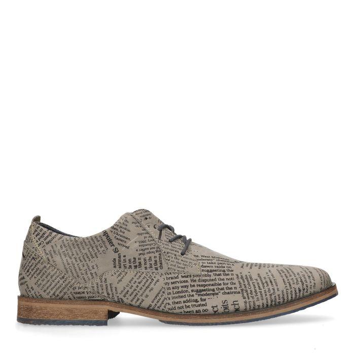 Chaussures à lacets en cuir avec imprimé newspaper - gris