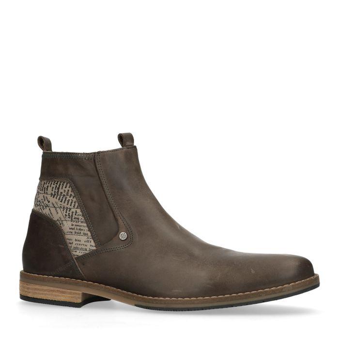 Boots en cuir avec imprimé newspaper - gris foncé