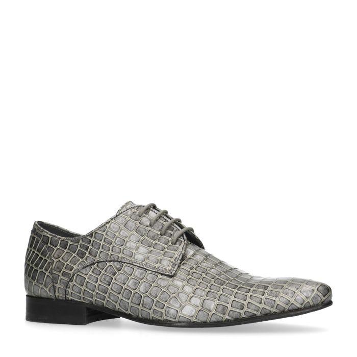 Chaussures à lacets en cuir avec imprimé serpent - gris