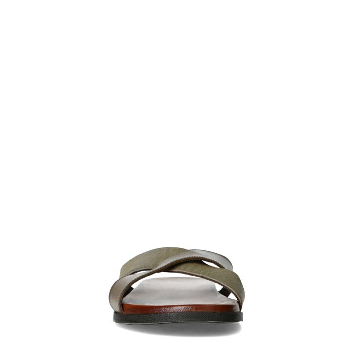 Claquettes en cuir avec brides croisées - gris
