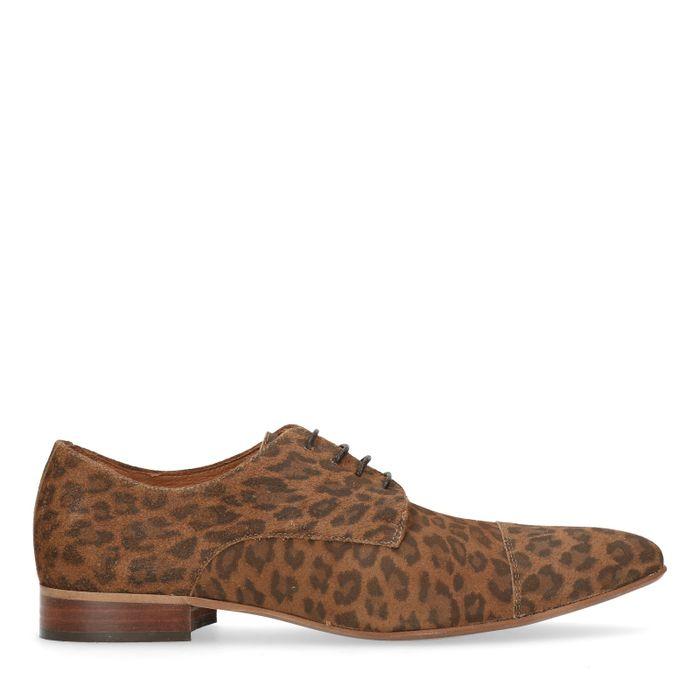 Chaussures à lacets en cuir avec imprimé léopard - marron