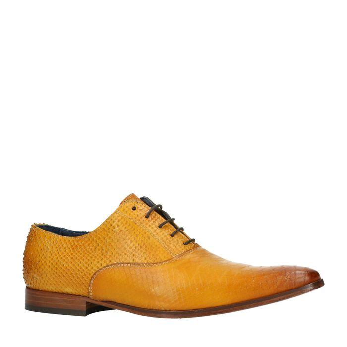 Chaussures à lacets avec motif peau de serpent - ocre